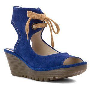 NIB Fly London Yaffa Blue Suede Wedge Sandals